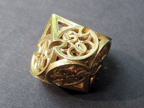 Gothic Rosette d10 Decader in Polished Brass