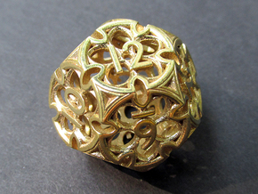 Gothic Rosette Die12 in Polished Brass