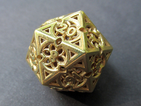 Gothic Rosette Die20 in Polished Brass