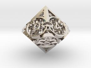 Gothic Rosette d10 in Platinum