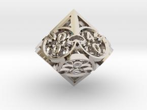 Gothic Rosette d10 Decader in Rhodium Plated Brass