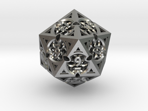 Gothic Rosette d20 in Natural Silver