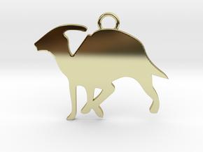Parasaurolophus necklace Pendant in 18k Gold