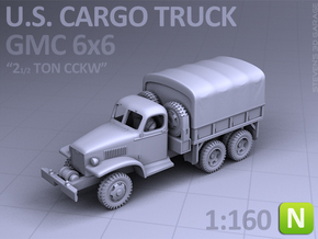 CARGO TRUCK - GMC CCKW 6x6 (N scale) in Smooth Fine Detail Plastic