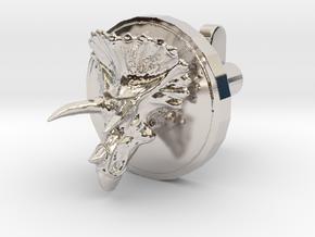 Triceratops Head Cufflink in Rhodium Plated Brass