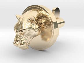 Smilodon Head Cufflink in 14K Yellow Gold