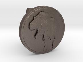T-rex Cufflink in Polished Bronzed Silver Steel