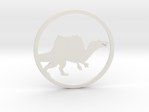 Spinosaurus necklace Pendant in White Natural Versatile Plastic