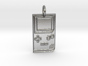 Game Boy 1989 Pendant in Natural Silver