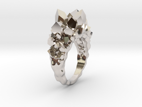 Crystal Ring Size 7.5 in Rhodium Plated Brass