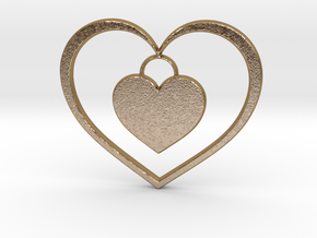 Pendant No.5 Heart in Polished Gold Steel
