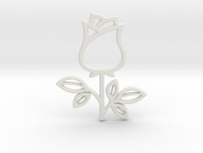 Rose No.1 Pendant in White Natural Versatile Plastic