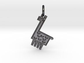 Llama Pendant in Polished and Bronzed Black Steel
