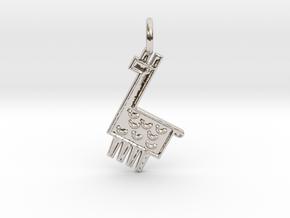 Llama Pendant in Rhodium Plated Brass