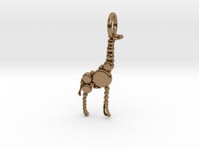 Giraffe Pendant in Natural Brass