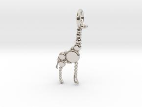 Giraffe Pendant in Rhodium Plated Brass