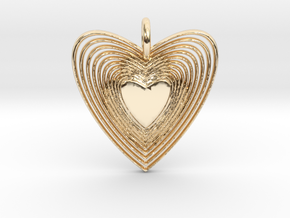 Pendant of Heart (No.2) in 14k Gold Plated Brass