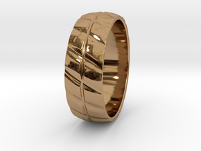Grooved Mens' Ring in Polished Brass