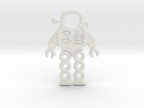 Mars Robot Pendant in White Natural Versatile Plastic