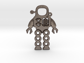 Mars Robot Pendant in Polished Bronzed Silver Steel