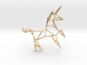 Unicorn Pendant in 14k Gold Plated Brass