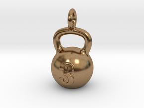 Kettlebell Tiny Little Pendant in Natural Brass