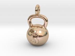 Kettlebell Tiny Little Pendant in 14k Rose Gold Plated Brass