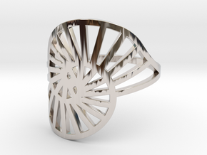 Nautilus Ring Size 11 in Rhodium Plated Brass