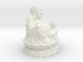 Buddha Sculpture in White Natural Versatile Plastic