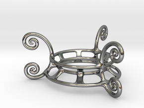 Ornament Egg Stand in Fine Detail Polished Silver