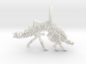 Stegosaurus Skeleton Pendant in White Natural Versatile Plastic