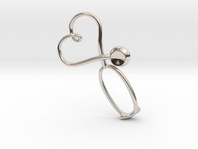 Stethoscope Heart Pendant in Rhodium Plated Brass