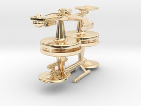 Game piece player ships in 14k Gold Plated Brass
