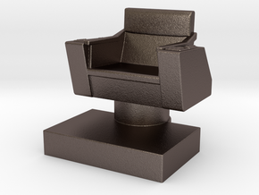 Game piece captain's chair in Polished Bronzed Silver Steel