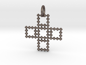 Square Pendant No.3  in Polished Bronzed Silver Steel
