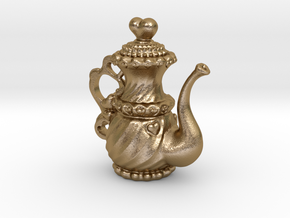 Heart_O_Teapot Pendant in Polished Gold Steel