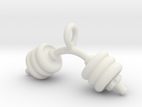 Dumbbell Bent Tiny Little Earring in White Natural Versatile Plastic