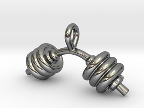Dumbbell Bent Tiny Little Earring in Fine Detail Polished Silver