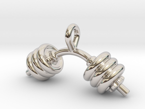 Dumbbell Bent Tiny Little Earring in Rhodium Plated Brass