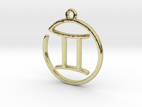 Gemini Zodiac Pendant in 18k Gold Plated Brass