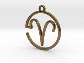 Aries Zodiac Pendant in Polished Bronze