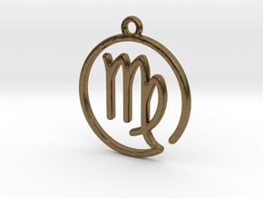 Virgo Zodiac Pendant in Natural Bronze