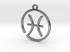 Pisces Zodiac Pendant in Polished Silver