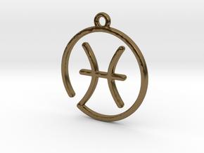 Pisces Zodiac Pendant in Polished Bronze