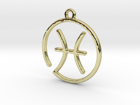 Pisces Zodiac Pendant in 18k Gold Plated Brass