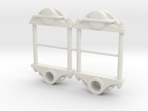 1:13.7 Plain Axlebox Assembly in White Natural Versatile Plastic