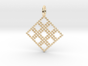 Pendant Square No.4 in 14k Gold Plated Brass