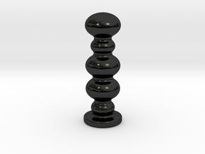 Porcelain Wavy Sphere Plug (Small) in Gloss Black Porcelain
