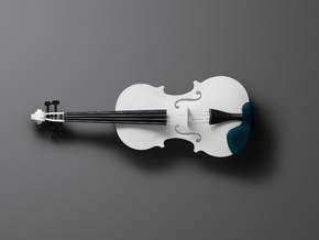 Violin (Body, Scroll, Fingerboard) in White Natural Versatile Plastic