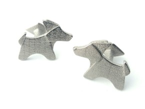Origami Wet folded dog cufflink in Polished Nickel Steel